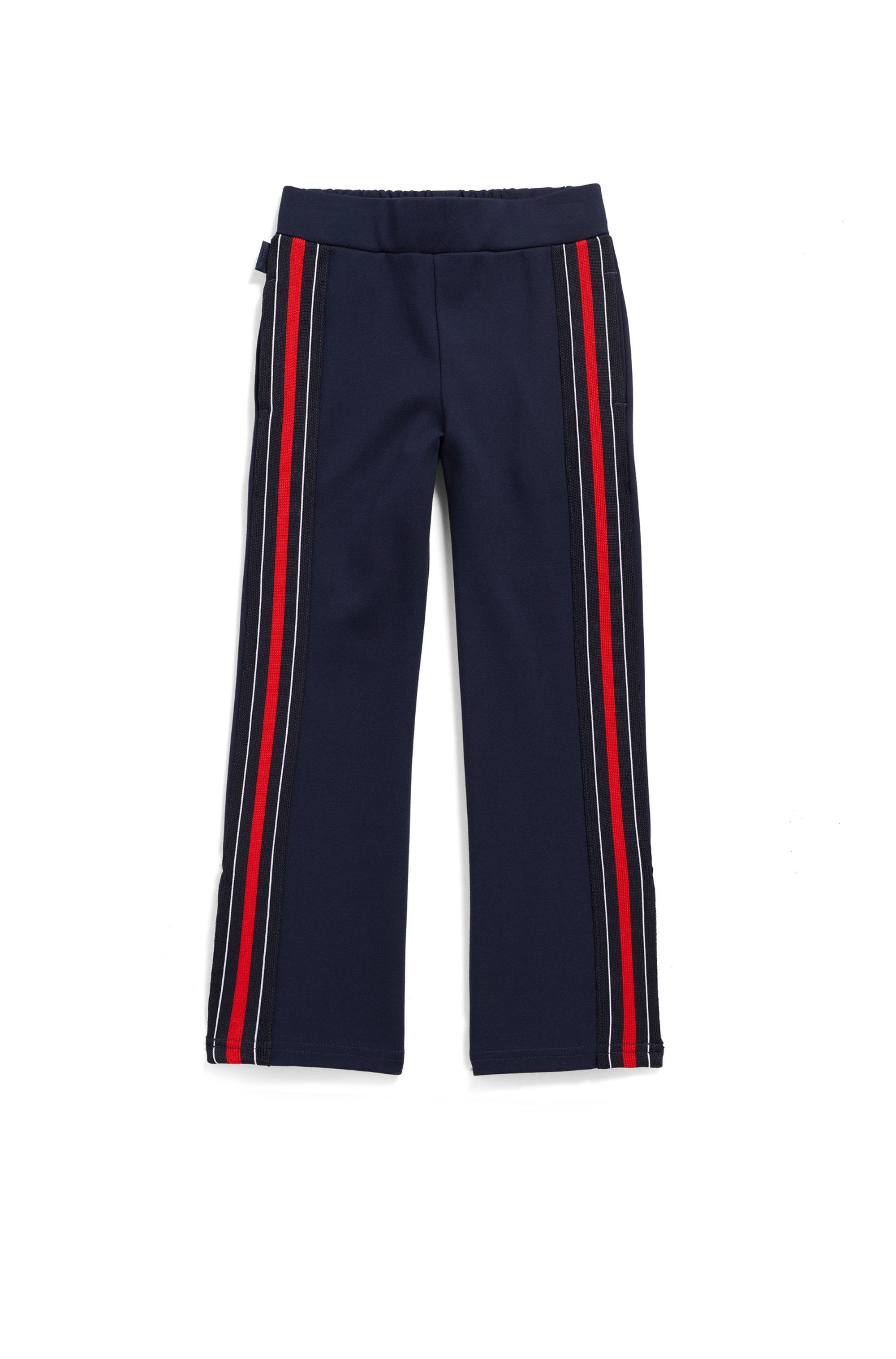 Pantalon pour enfant en jersey Milano, avec bande latérale contrastante, Bleu foncé