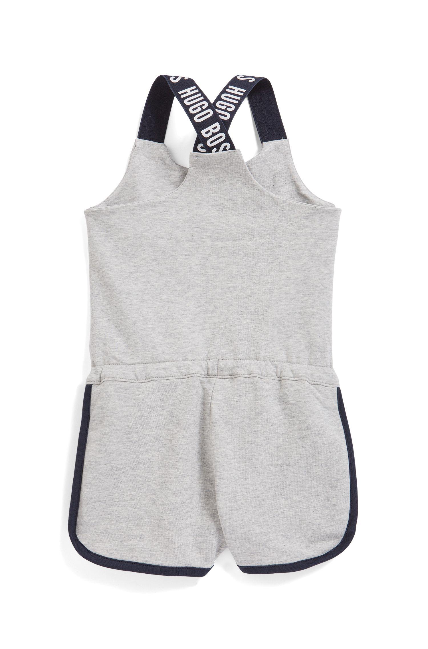Combishort pour enfant en molleton de coton stretch, Gris chiné