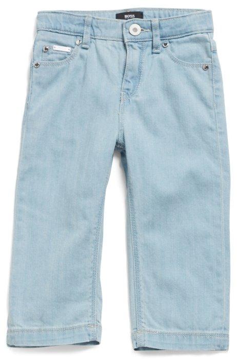 Kids-Jeans aus reinem Baumwoll-Denim mit Logo-Stickerei, Gemustert
