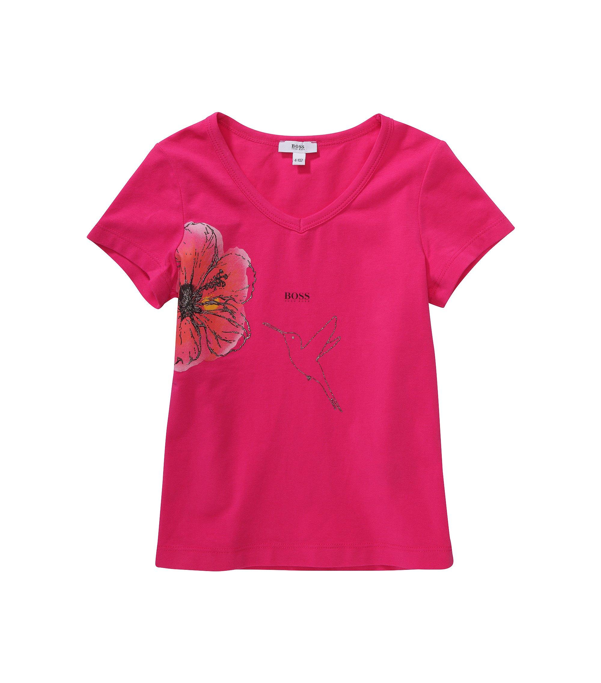 Kids-T-Shirt ´J15292` mit Blumen- und Kolibri-Print, Dunkelrosa
