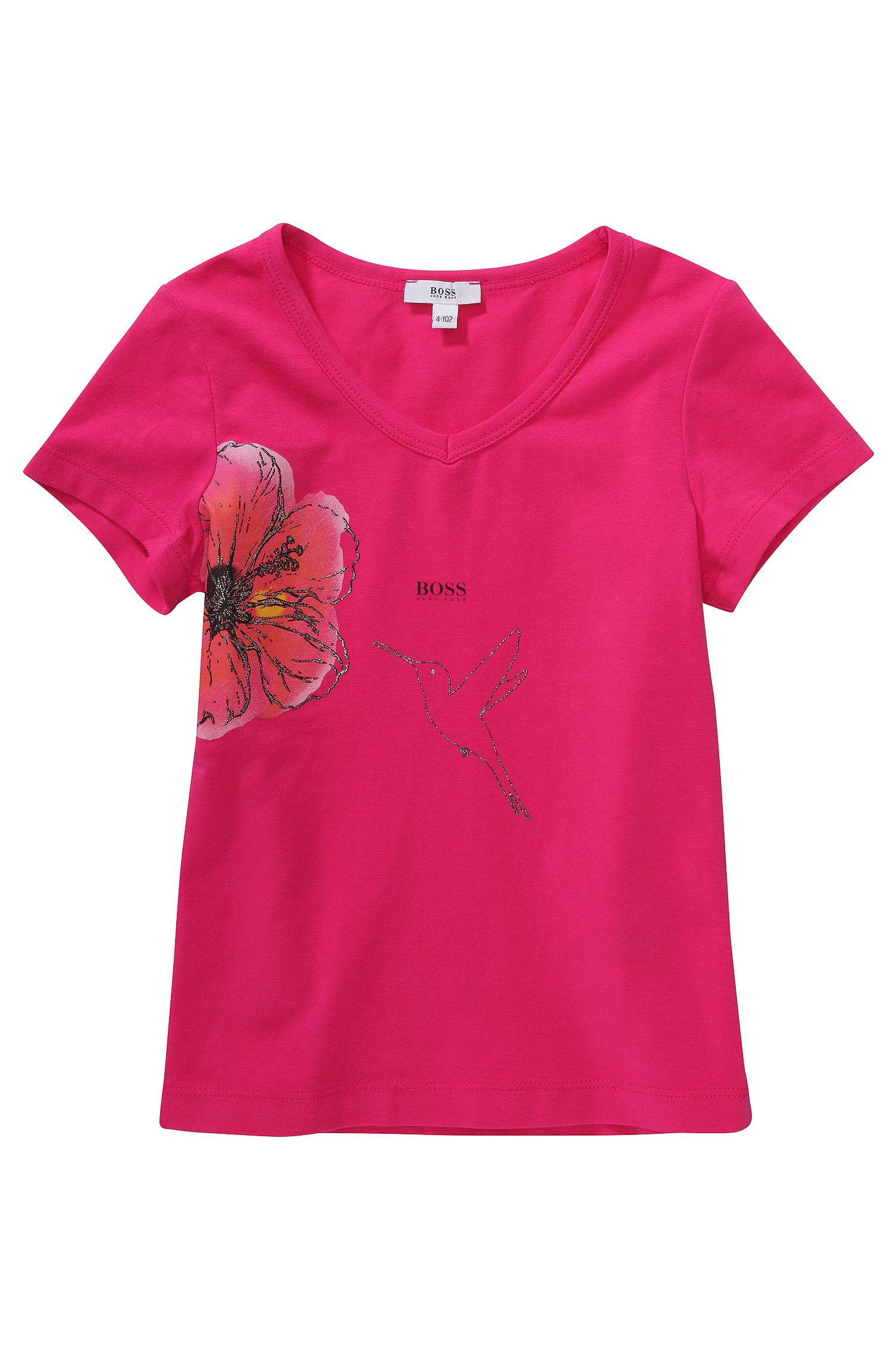 Kids-T-Shirt ´J15292` mit Blumen- und Kolibri-Print