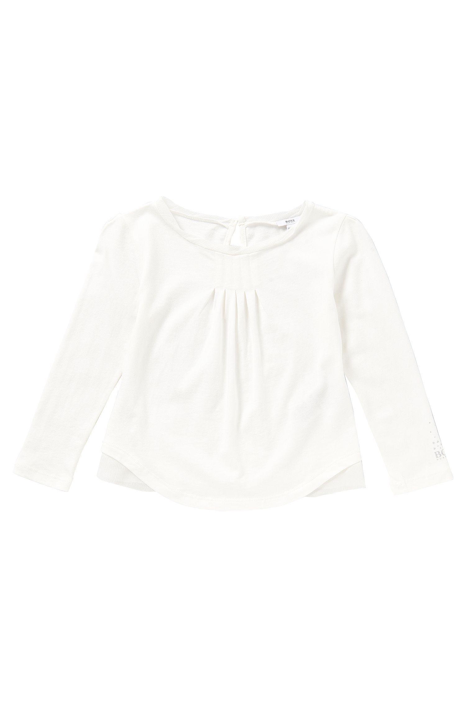 T-shirt pour enfants en coton mélangé, avec un empiècement en soie: «J15305»
