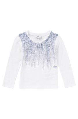 Bedrucktes Longsleeve aus Baumwolle: 'J15308', Weiß