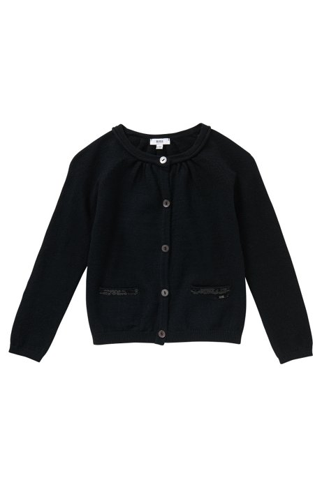 Kids cardigan in cotton blend with sequin trim and a bracelet: 'J15317', Black