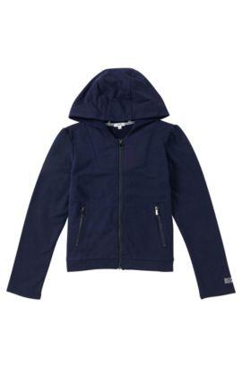 Blouson sweatshirt à capuche en viscose extensible mélangée à du coton: «J15321», Bleu foncé