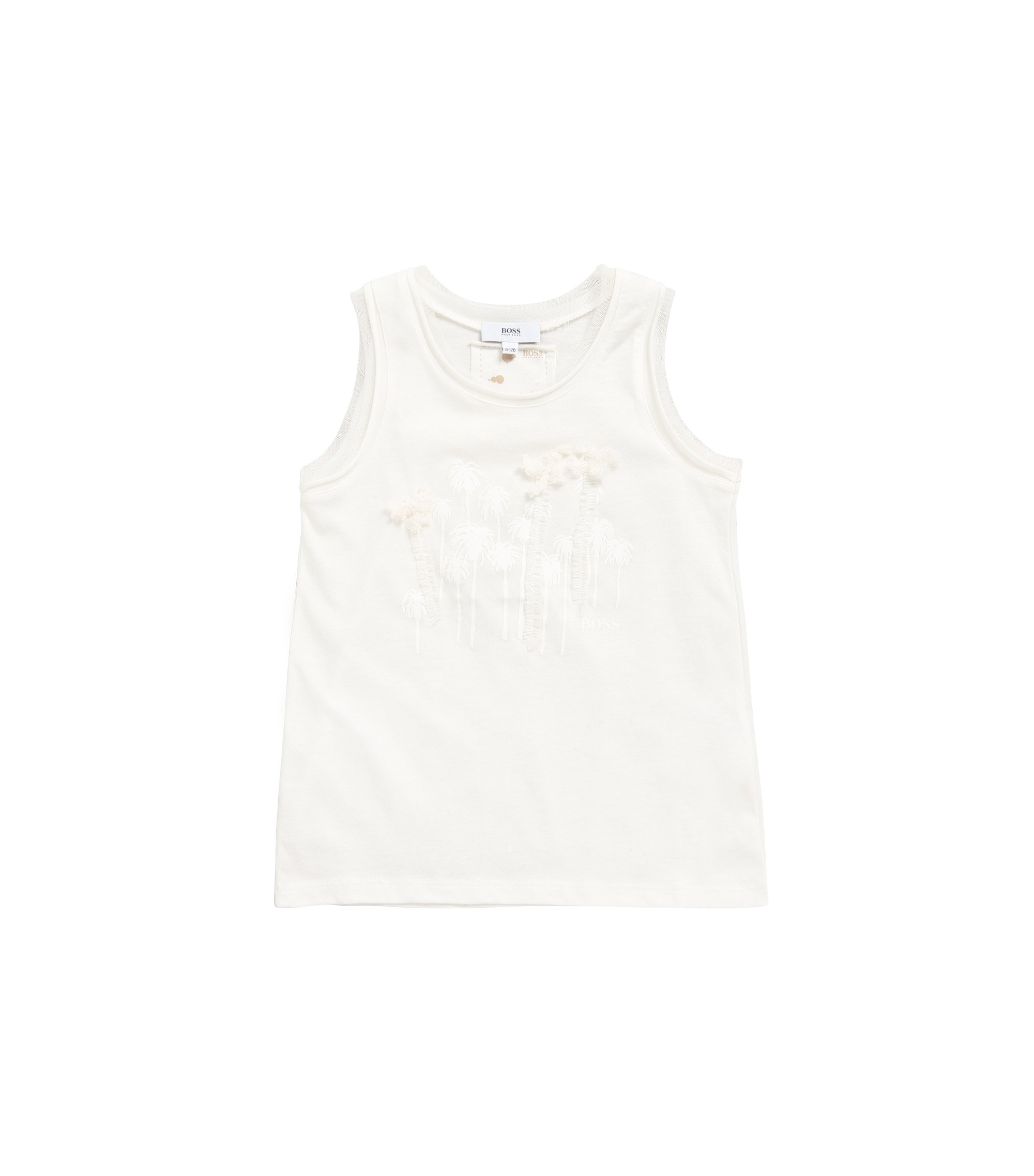 Kids' top in cotton-modal blend with palm-tree print: 'J15336', Natural
