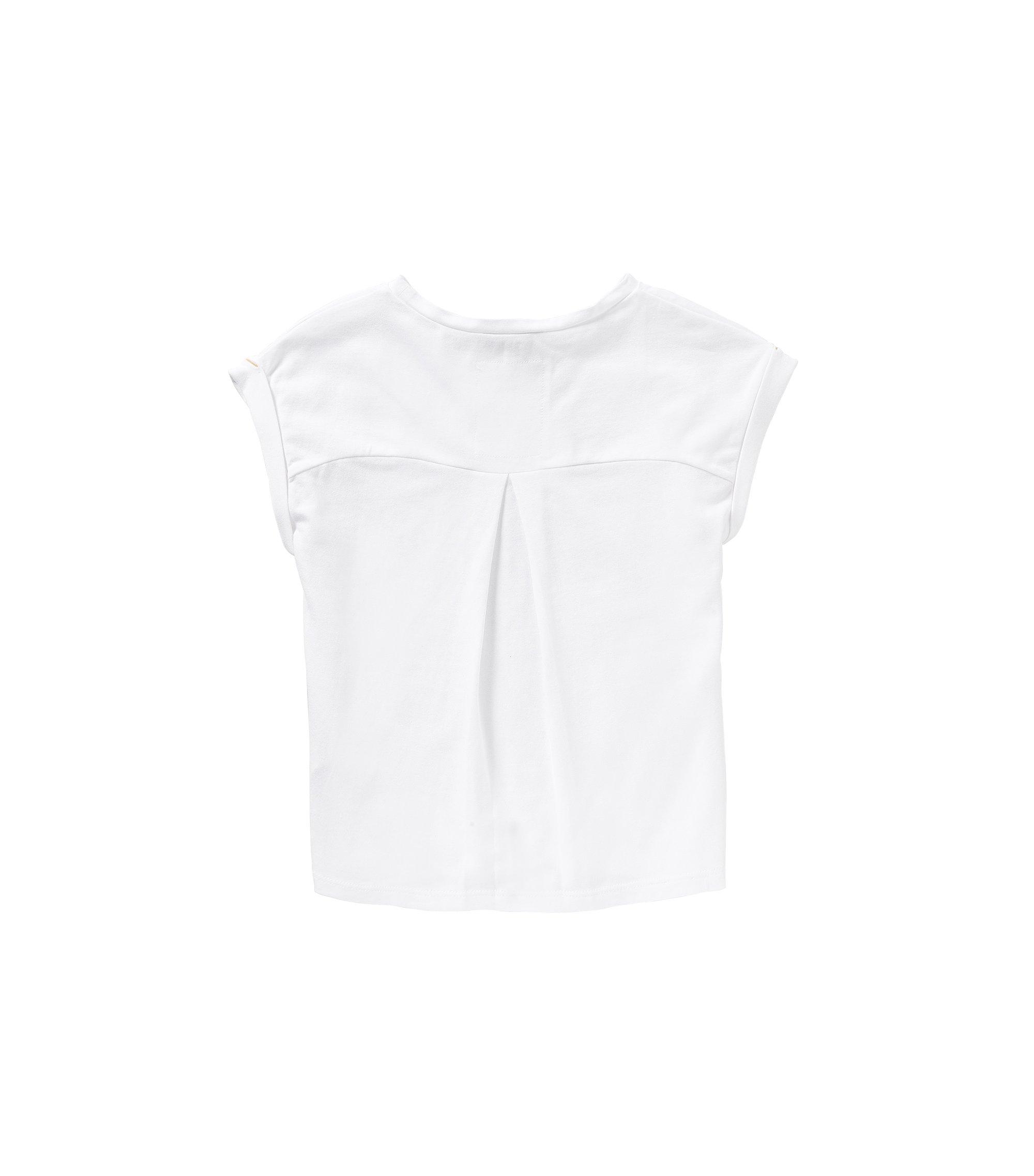 T-shirt pour enfant en coton stretch, avec un imprimé à l'avant: «J15337», Blanc