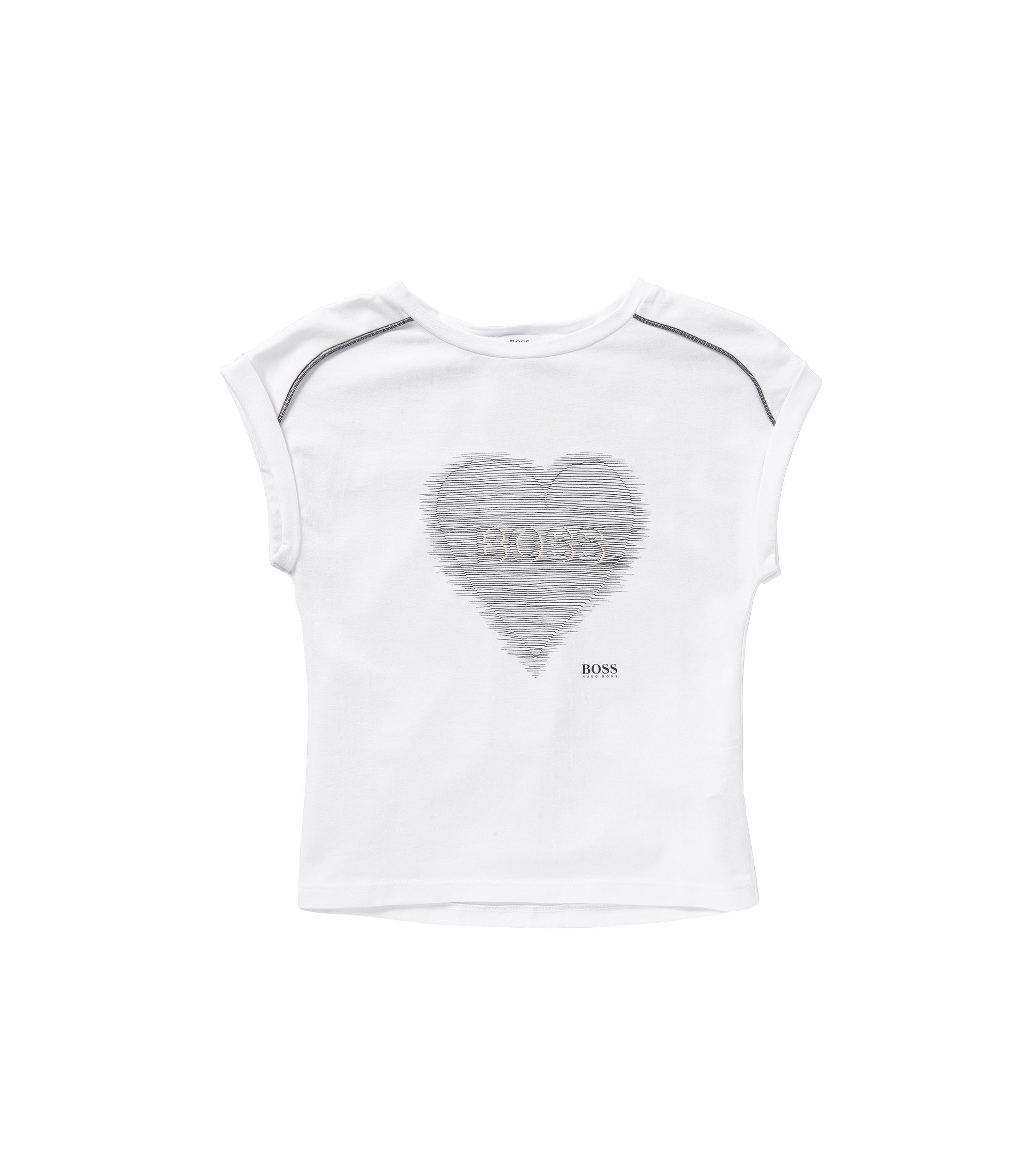 Kids' t-shirt in stretch cotton with printed front motif: 'J15337', White