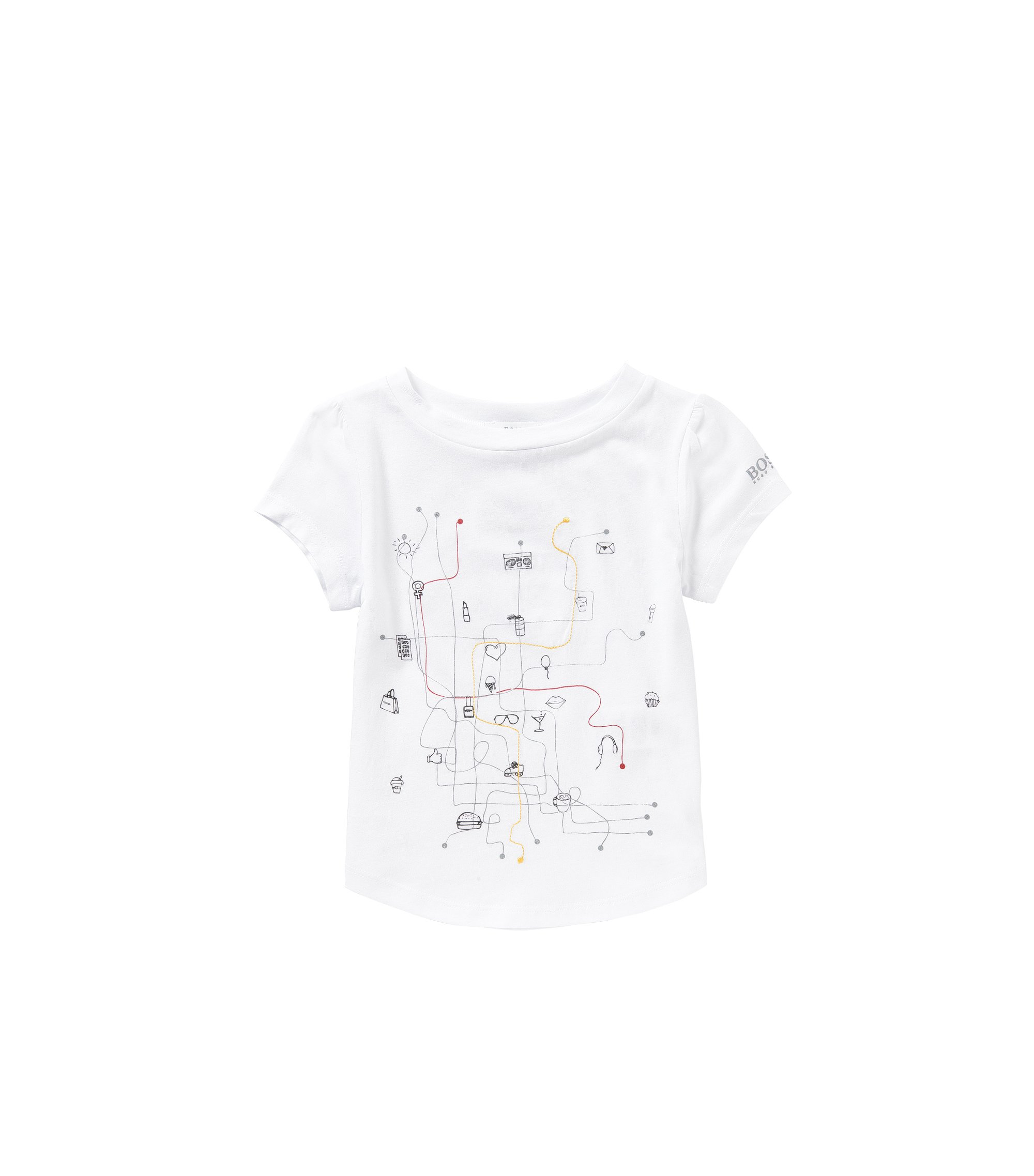 Kids' shirt made from a blend of cotton and modal with a print and embroidery: 'J15338', White