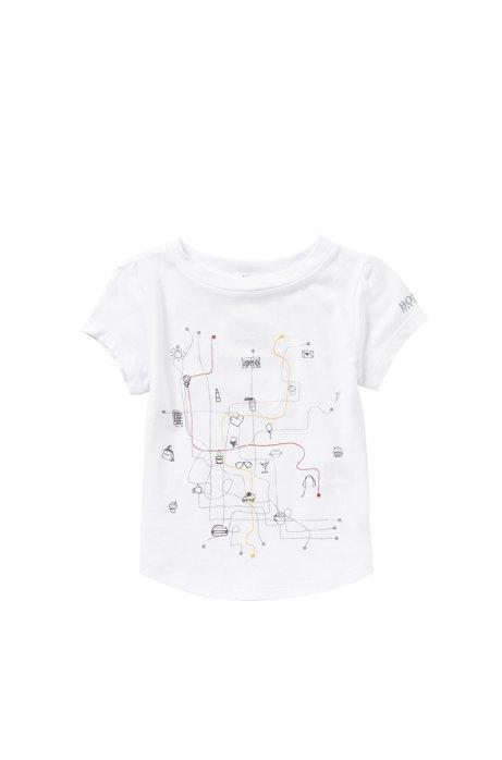 Kindershirt van een mix van katoen en modal, met print en stiksel: 'J15338', Wit
