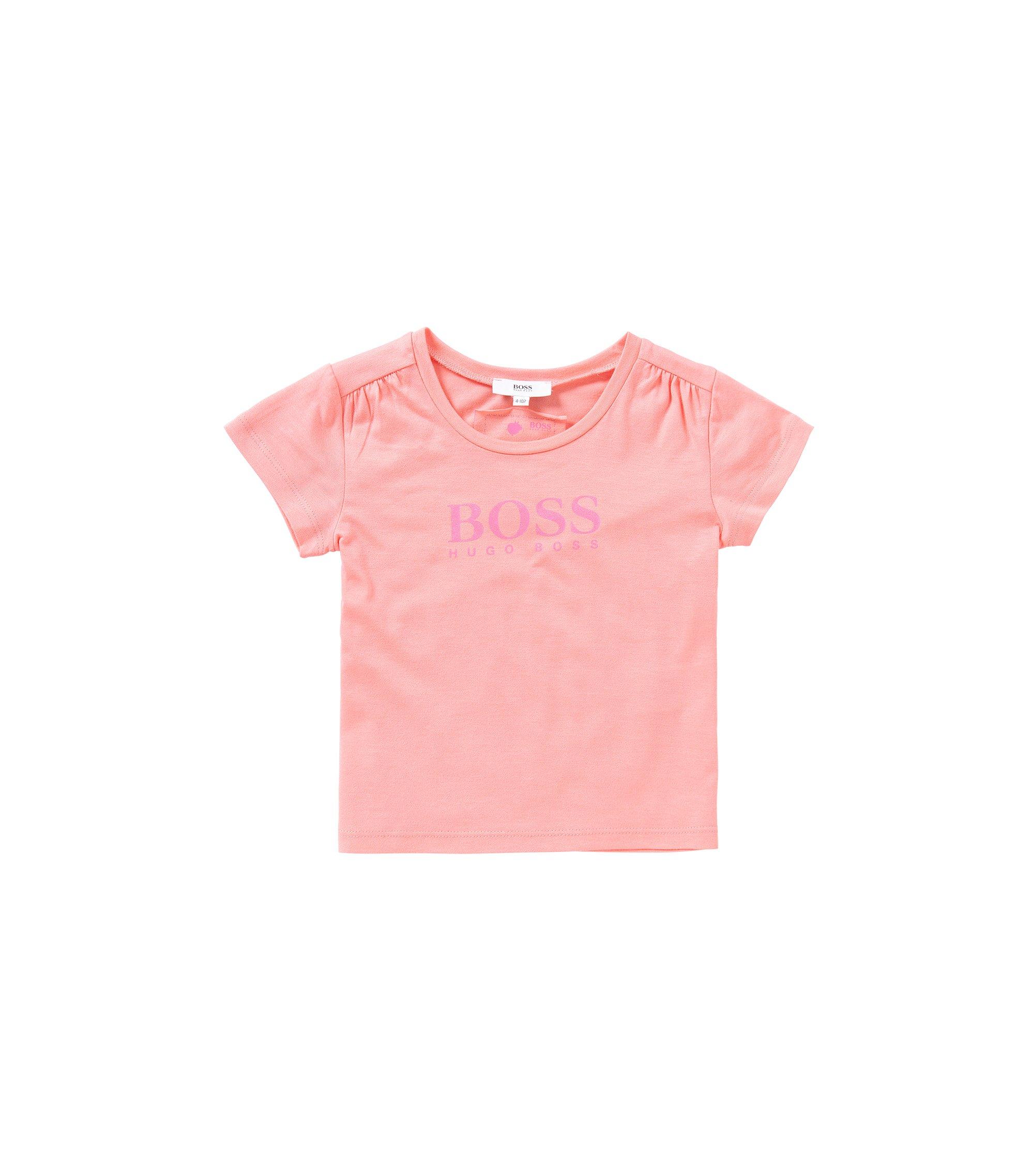 Bedrukt T-shirt van een katoenmix voor kinderen: 'J15340', Lichtroze