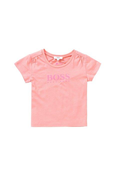 T-shirt da bambina stampata in misto cotone: 'J15340', Rosa chiaro