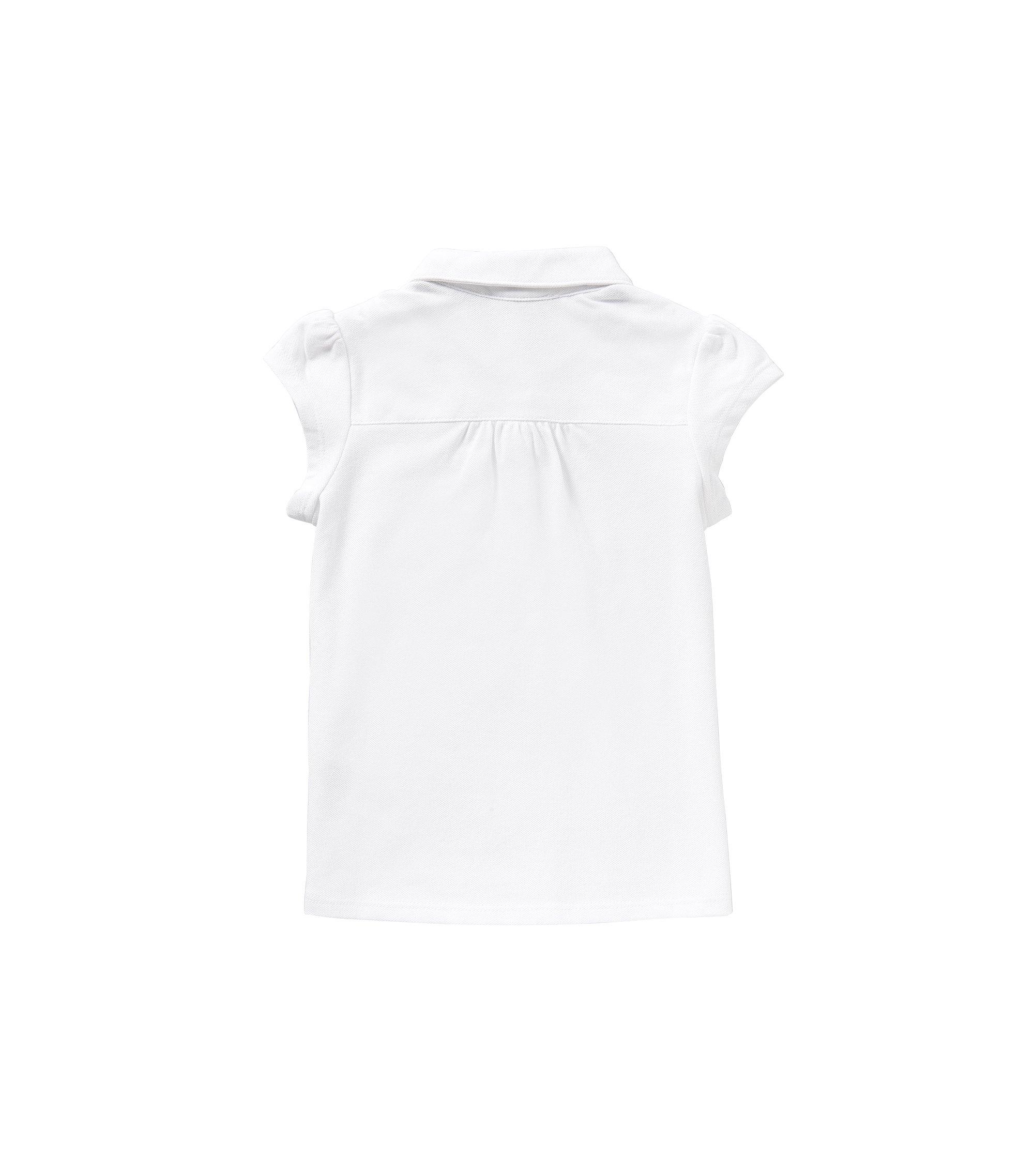 Polo pour enfant en coton stretch à poche-poitrine plaquée: «J15343», Blanc
