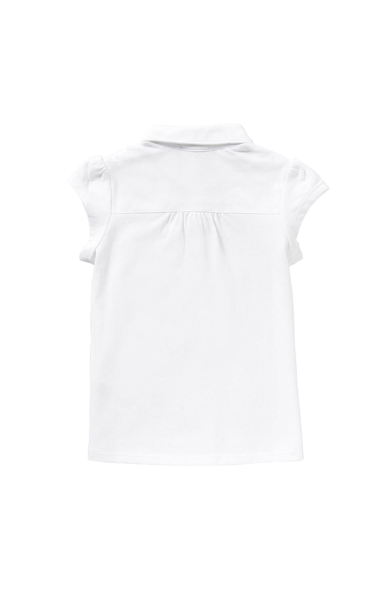Maglietta polo per bambine in cotone elasticizzato con taschino applicato sul petto: 'J15343'