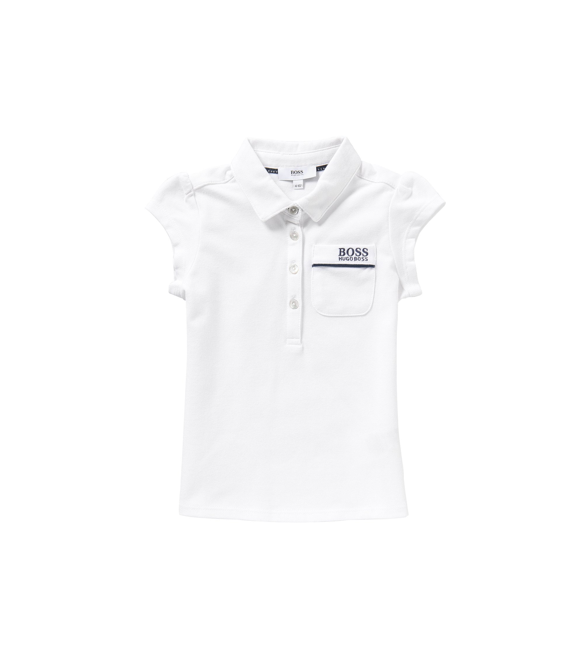 Kids' polo shirt in stretch cotton with a patch breast pocket: 'J15343', White