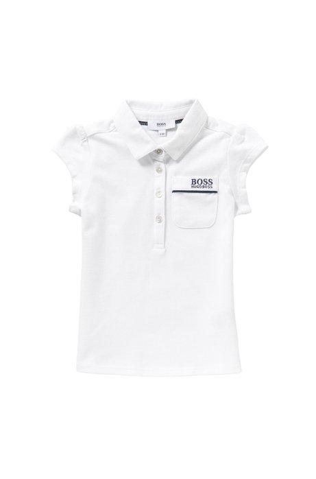Kids-Poloshirt aus Stretch-Baumwolle mit aufgesetzter Brusttasche: 'J15343', Weiß