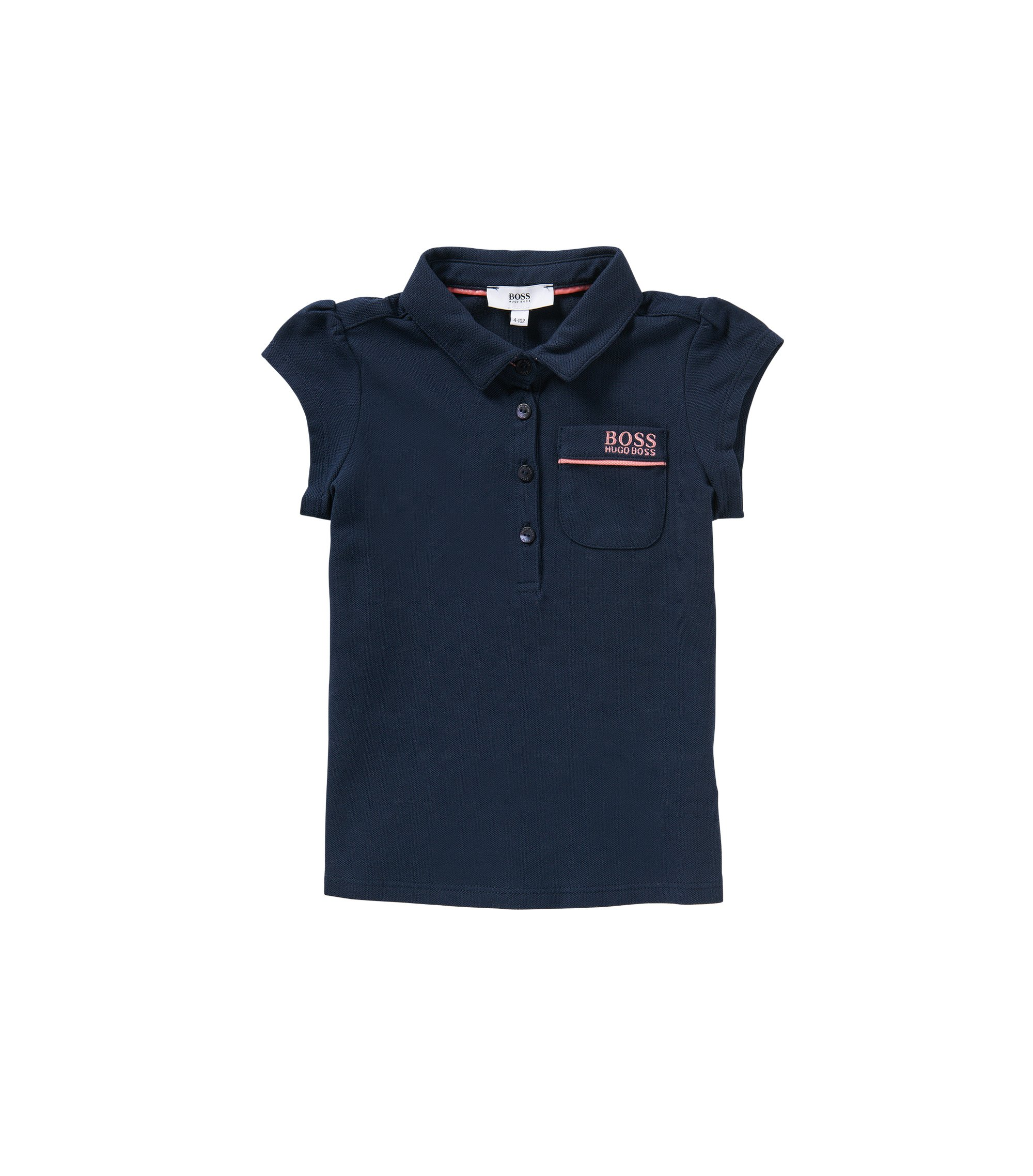 Kids' polo shirt in stretch cotton with a patch breast pocket: 'J15343', Dark Blue