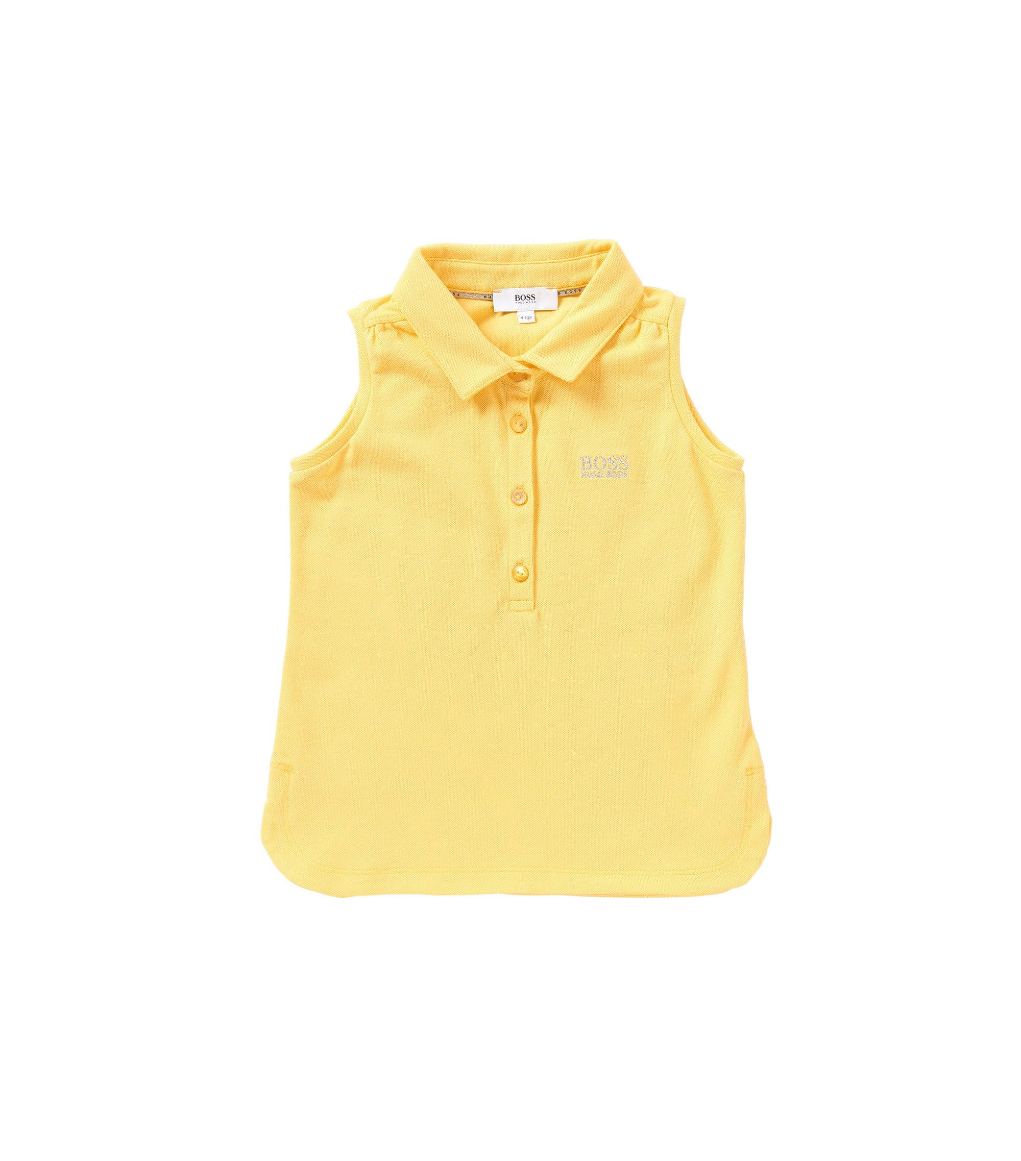 Sleeveless kids' polo shirt in stretch cotton: 'J15344', Yellow