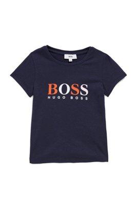 T-shirt pour enfant avec logo imprimé multicolore, Bleu foncé