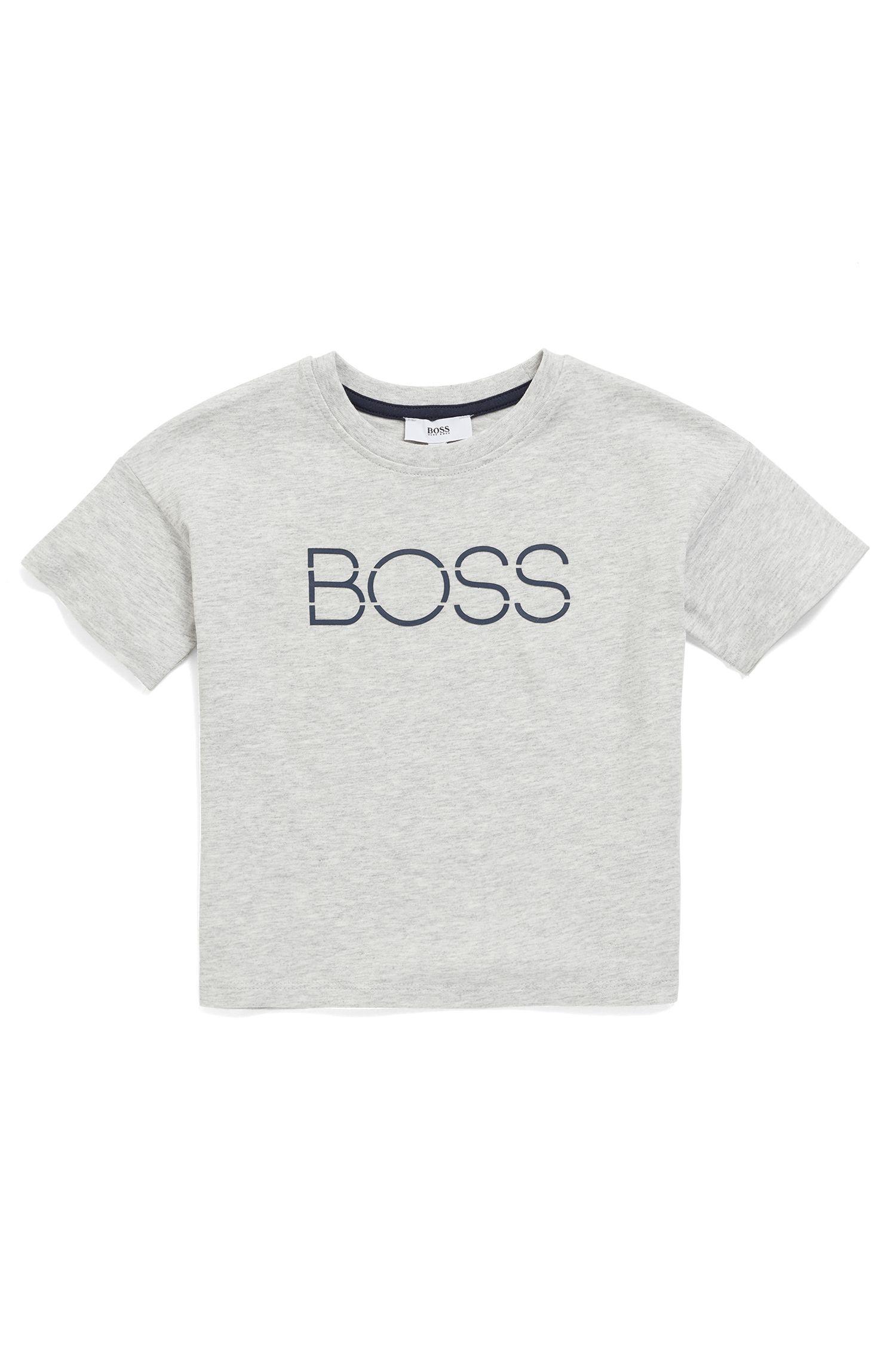 Kids-T-Shirt aus melierter Baumwolle mit Logo-Print, Hellgrau