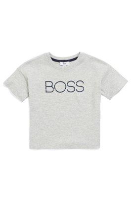 T-shirt chiné pour enfant avec logo imprimé à haute densité, Gris chiné