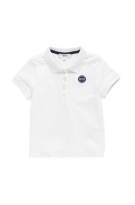 Kids' polo shirt in stretch-cotton piqué, White