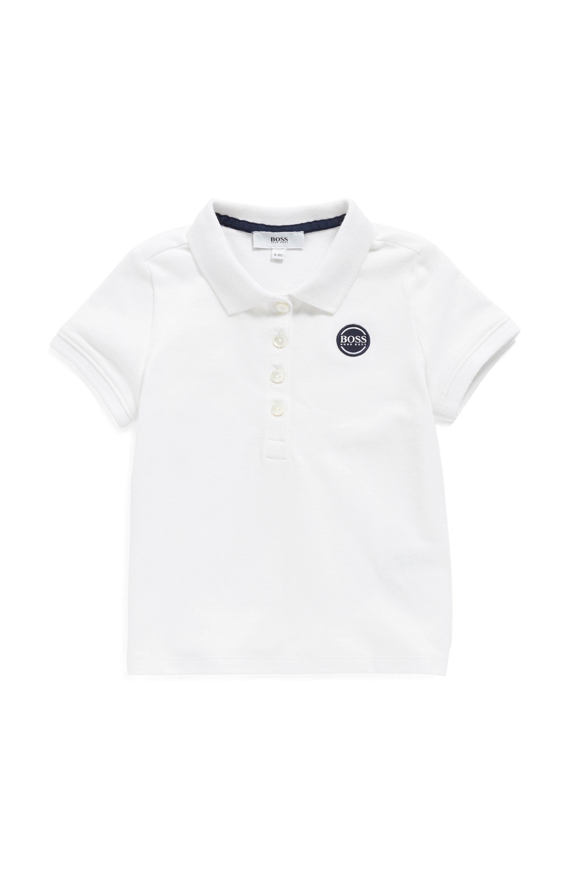 Polo pour enfant en piqué de coton stretch, Blanc