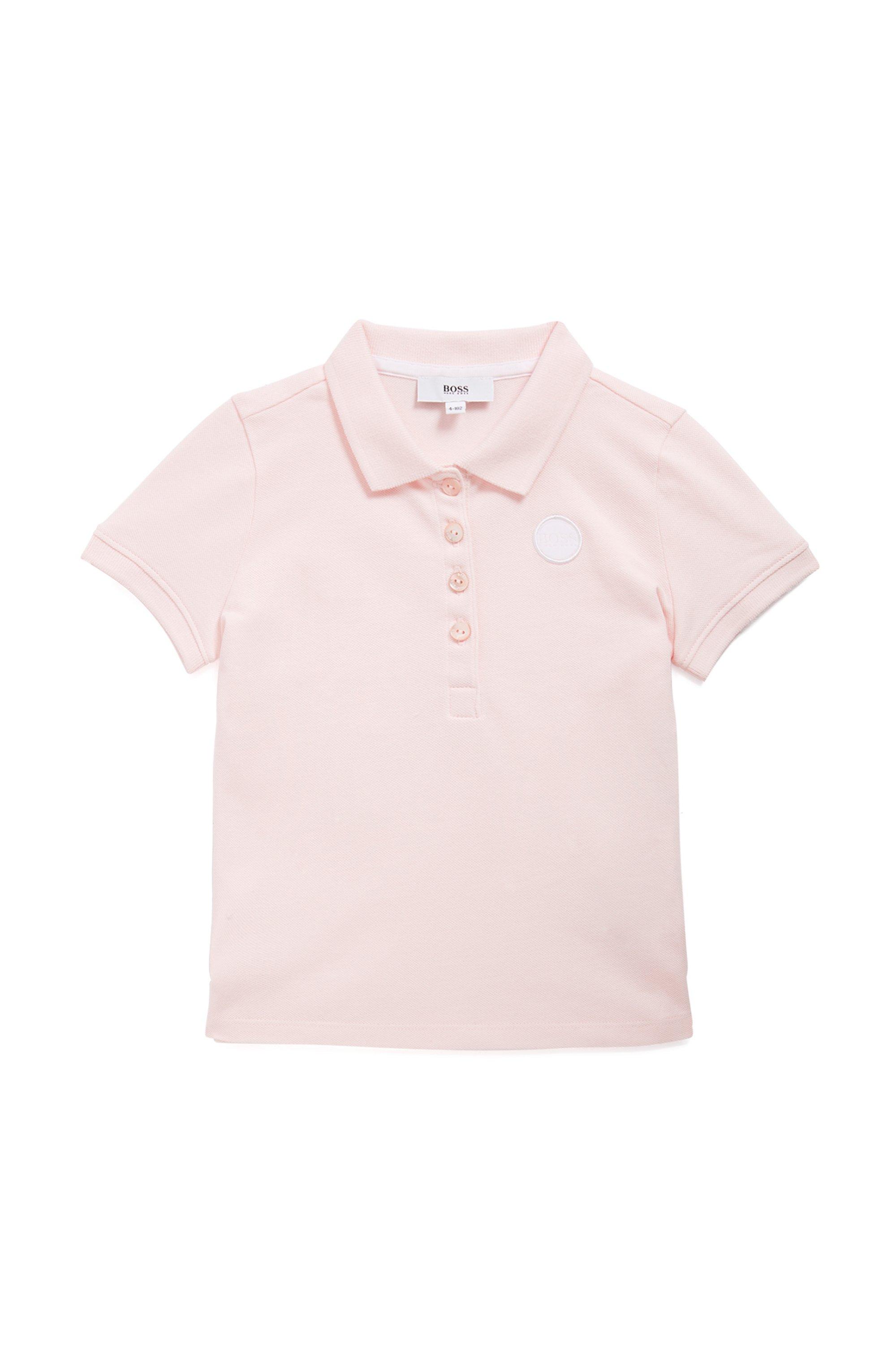 Polo pour enfant en piqué de coton stretch, Rose clair
