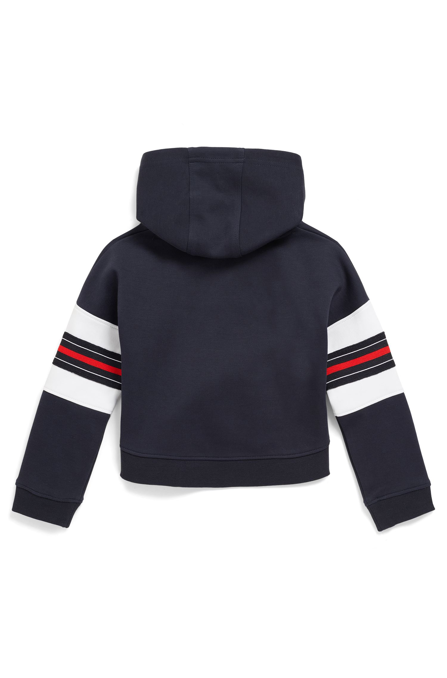 Kids' hoodie with logo and stripe detailing, Dark Blue