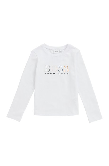 Kids' long-sleeved logo T-shirt in stretch cotton, White