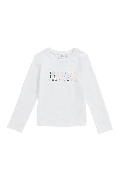 Maglia a maniche lunghe da bambino in cotone elasticizzato con logo, Bianco