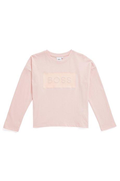 T-shirt pour enfant à manches longues en coton, avec panneau à logo, Rose clair