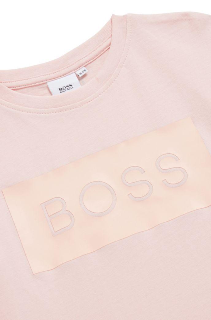 T-shirt pour enfant à manches longues en coton, avec panneau à logo