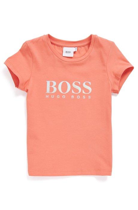 T-shirt da bambino in cotone elasticizzato con logo iridescente, Arancio chiaro