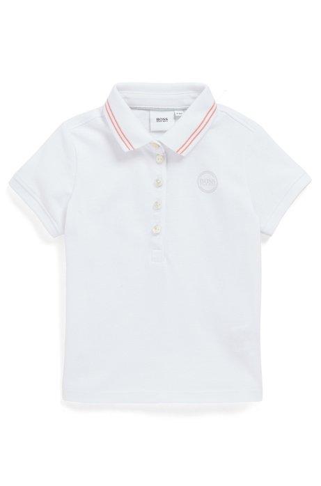 Kids-Poloshirt aus Stretch-Baumwolle mit changierendem Logo, Weiß