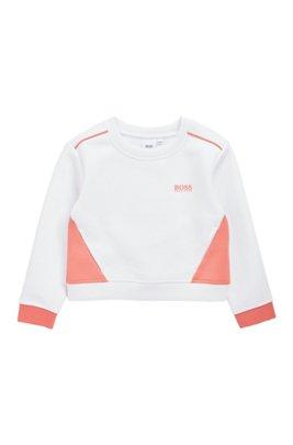 Loungesweater met contrastdetails voor kinderen, Wit