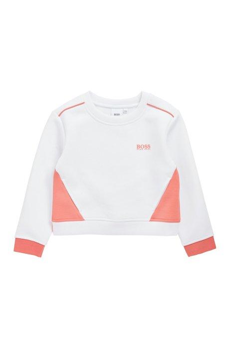Kids-Sweatshirt aus Jersey mit kontrastfarbenen Details, Weiß