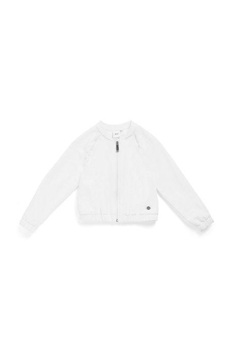 Veste zippée pour enfant en tissu stretch, Blanc