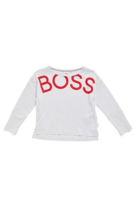 Kids' long-sleeved T-shirt with cropped-effect logo print, White