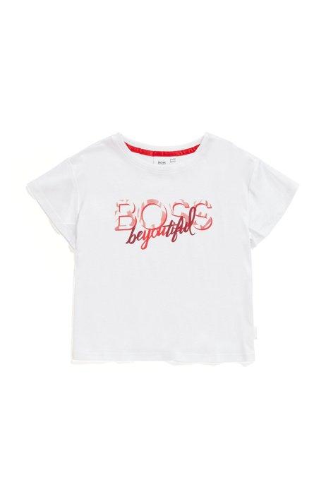 T-shirt en coton mélangé pour enfant avec logo artistique et inscription, Blanc