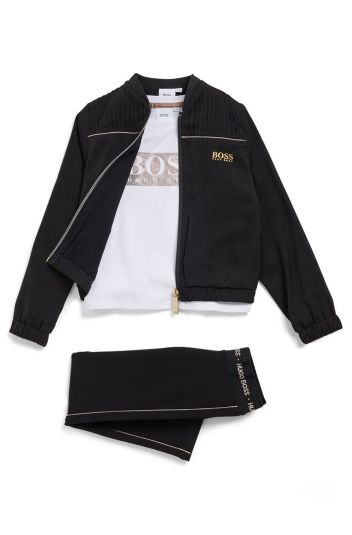 Kids' jacket in satin-touch fabric with pleat detailing