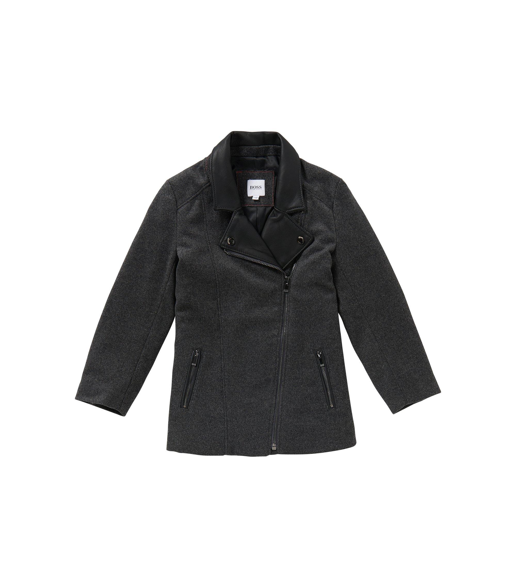 Mantel aus Woll-Mix mit Leder-Besatz: 'J16111', Anthrazit