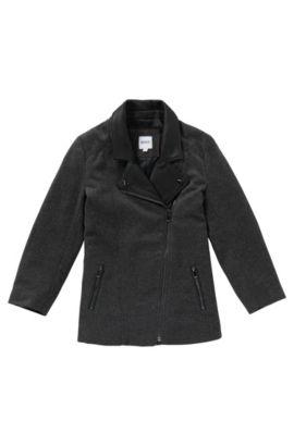 Manteau en laine mélangée avec parementure en cuir: «J16111», Anthracite