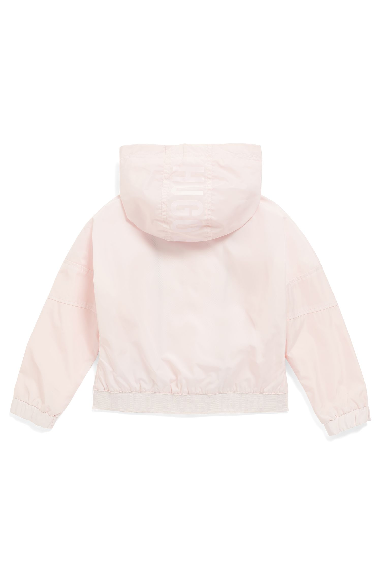 Kids' hooded windbreaker in water-repellent technical fabric, light pink