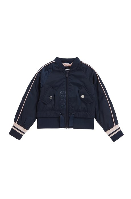 Kids' water-repellent jacket with contrast stripes, Dark Blue