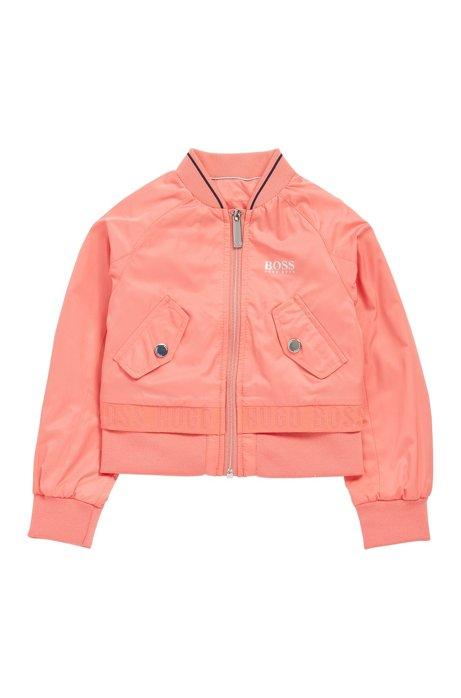 Kids-Jacke mit Reißverschluss und schimmerndem Logo, Hellrosa