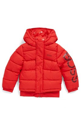 Kids' water-repellent padded jacket with logo-print sleeve, Red
