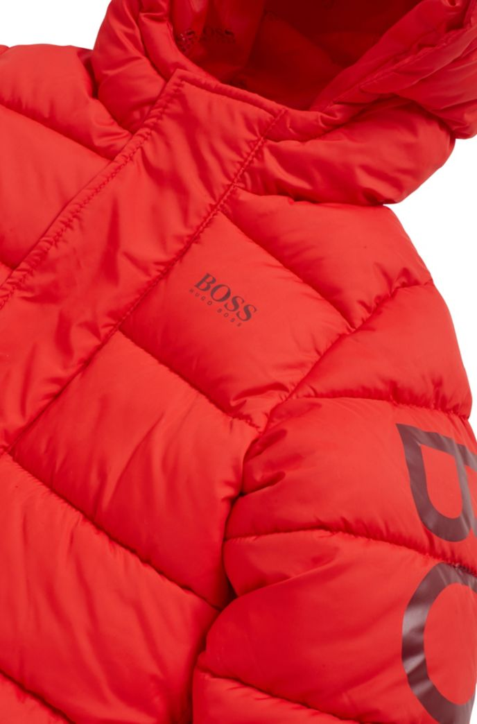 Kids' water-repellent padded jacket with logo-print sleeve