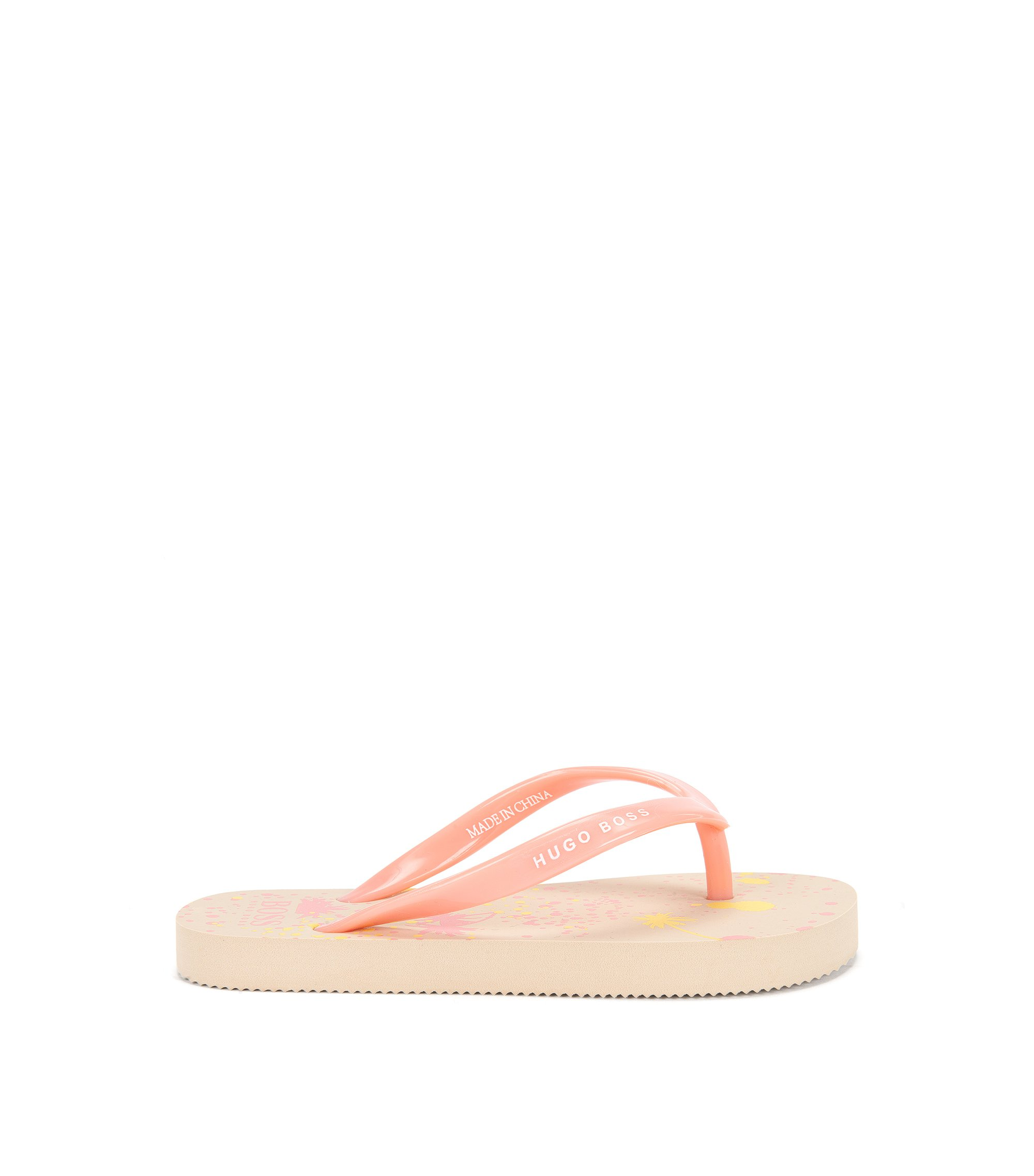 Kids' toe-separator sandals with palm-tree print: 'J19035', Light Beige