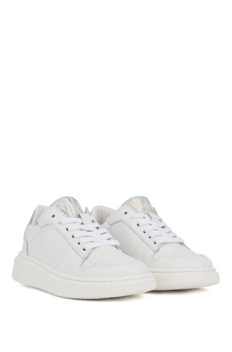 Kids-Sneakers aus Leder zum Schnüren mit changierenden Details, Weiß